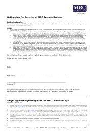MRC Remote Backup betingelser - MRC Computer A/S
