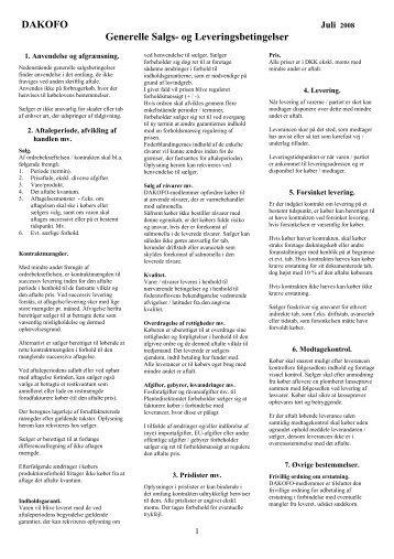 DAKOFO Generelle Salgs- og Leveringsbetingelser - NAG