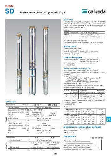 """Bombas sumergibles para pozos de 4"""" y 6"""" 01/2012 - Calpeda"""