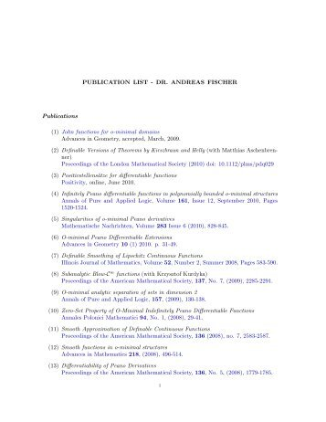 PUBLICATION LIST - DR. ANDREAS FISCHER Publications (1 ...