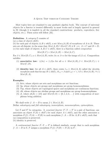 A Quick Trip through Category Theory Most topics here are standard ...