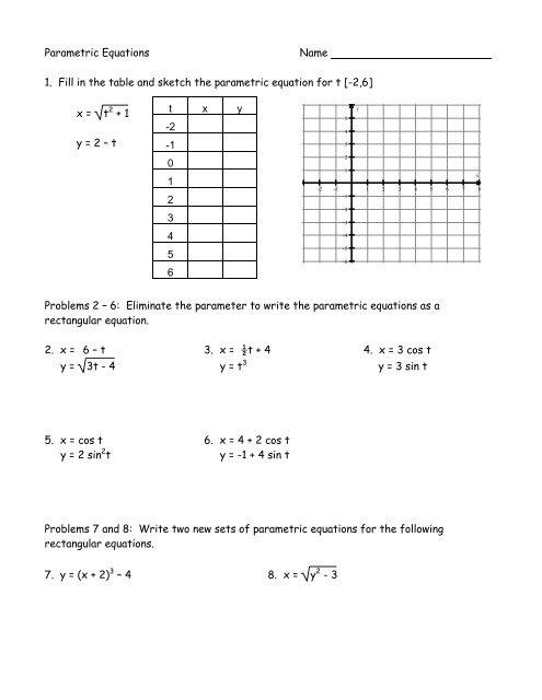 Pre Calculus Parametrics Worksheet 2