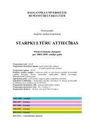 STARPKULTŪRU ATTIECĪBAS - Daugavpils Universitāte