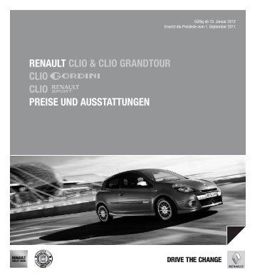 Renault clio & clio GRandtouR clio clio PReise und ausstattunGen