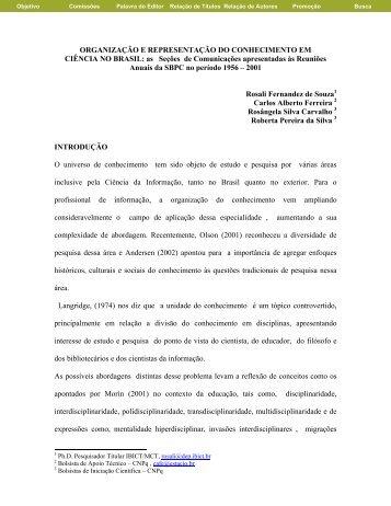 Organização e Representação do Conhecimento em Ciência ... - Ibict