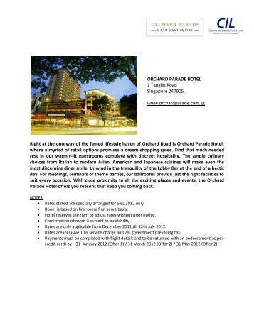 ORCHARD PARADE HOTEL 1 Tanglin Road Singapore 247905