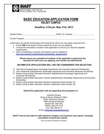 Basic Education Student Awards Application Form