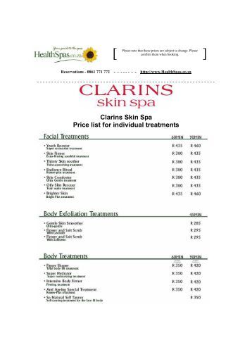 Clarins Spa Treatments Price List
