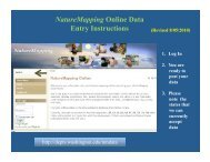 Online Data Entry Instructions - Nature Mapping
