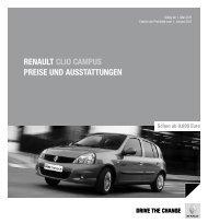 Renault clio campus pReise und ausstattungen - Renault Preislisten