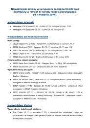 Najważniejsze zmiany w kursowaniu pociągów REGIO oraz ...