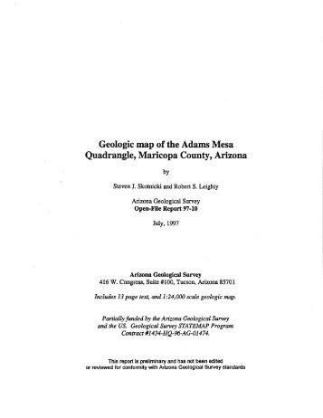 Geologic map of the Adams Mesa Quadrangle, Maricopa County ...