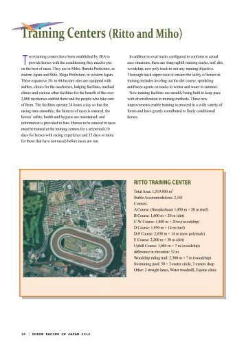 Training Centers (Ritto and Miho) [PDF:1.3MB] - Horse Racing in ...