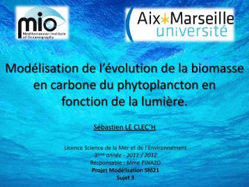 Modélisation de l'évolution de la biomasse en carbone du ...