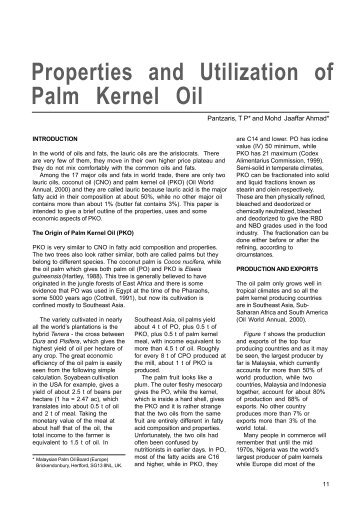 Properties and Utilization of Palm Kernel Oil - PALMOILIS - MPOB