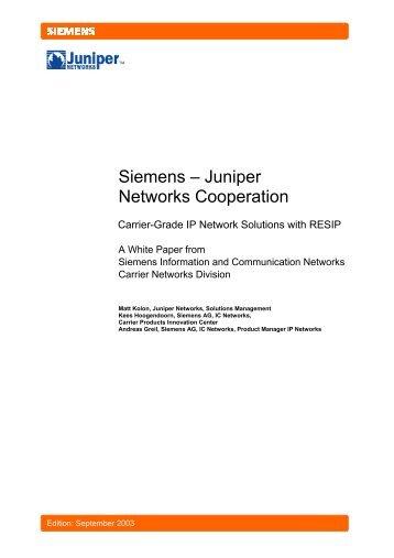 Siemens - Juniper Networks Cooperation - Light Reading