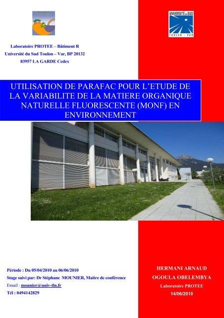 Manuscrit - laboratoire PROTEE - Université du Sud - Toulon - Var