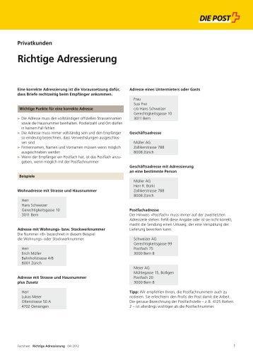 Richtige Adressierung - Die Schweizerische Post