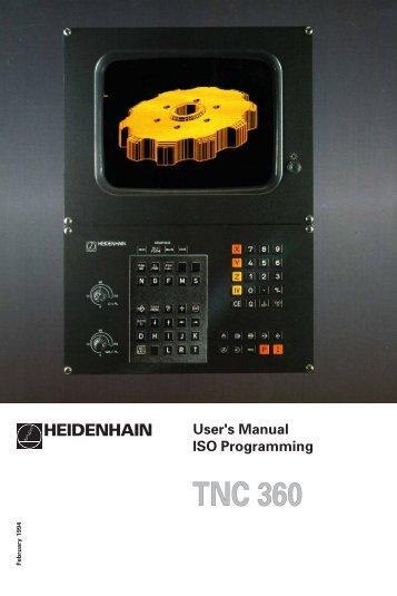 User's Manual ISO TNC 360 (260020xx, 280490xx) - heidenhain