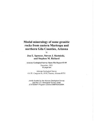 Modal mineralogy of some granitic rocks from eastern Maricopa and ...
