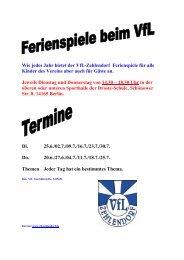 Wie jedes Jahr bietet der VfL-Zehlendorf ... - VfL Zehlendorf eV