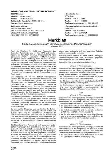 Merkblatt für die Abfassung von nach Merkmalen ... - DPMA