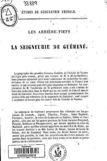 la seigneurie de guémené