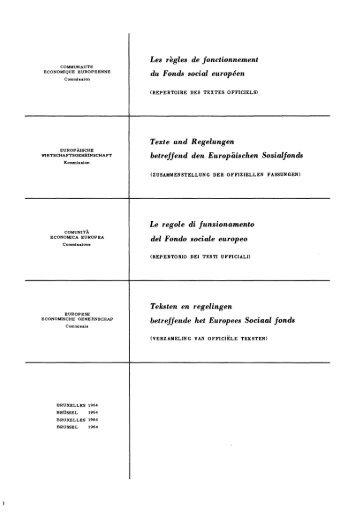 Les règles de fonctionnement du Fonds social européen Texte und ...
