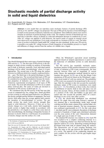 Stochastic models of partial discharge activity in solid ... - IEEE Xplore