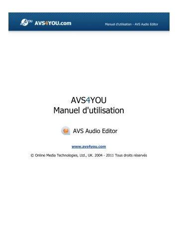 Manuel d'utilisation - AVS Audio Editor - AVS4YOU >> Online Help