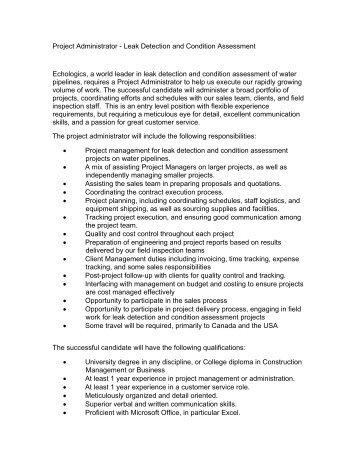 project administrator job description echologics