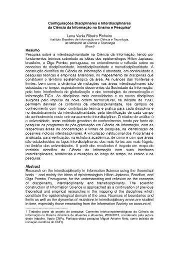 Configurações Disciplinares e Interdisciplinares da Ciência da ... - Ibict