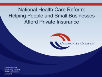 Helping People and Small Businesses Afford Private Insurance