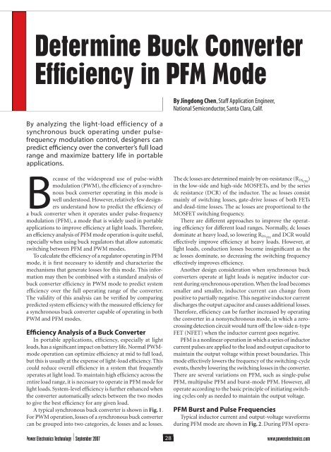 Determine Buck Converter Efficiency in PFM Mode - Power Electronics
