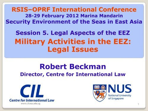 Military Activities in the EEZ: Legal Issues - Centre for International ...