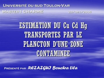 ESTIMATION DU Cu Cd Hg TRANSPORTES PAR LE PLANCTON D ...
