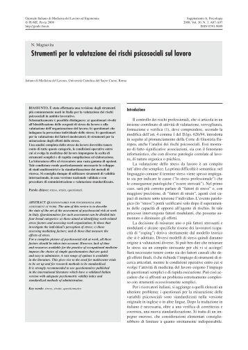Strumenti per la valutazione dei rischi psicosociali sul lavoro