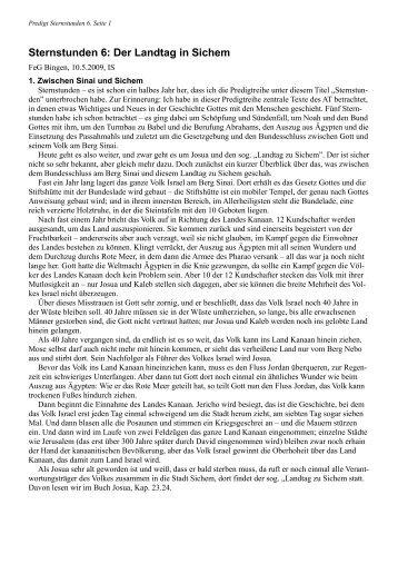 Sternstunden 6: Der Landtag in Sichem - FeG Bingen