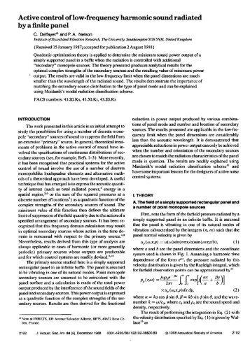 Active Control of Low-frequency Harmonic Sound Radiated by a ...