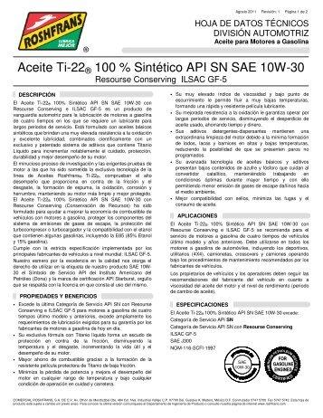 Aceite Ti-22® 100 % Sintético API SN SAE 10W-30 - Roshfrans