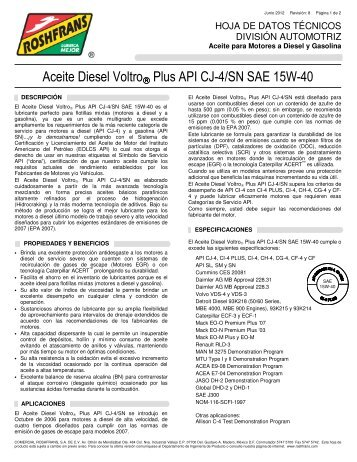 Aceite Diesel Voltro® Plus API CJ-4/SN SAE 15W-40 - Roshfrans
