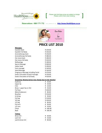 PRICE LIST 2010 - Health Spas Guide