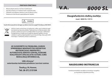 8000 SL - UAB Krinona - prekių instrukcijos - Krinona