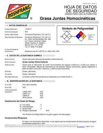 HOJA DE DATOS DE SEGURIDAD Grasa Juntas ... - Roshfrans