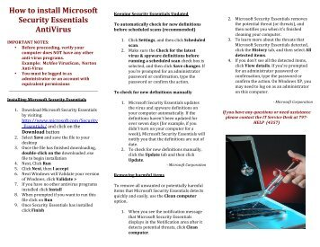 How to install Microsoft Security Essentials AntiVirus