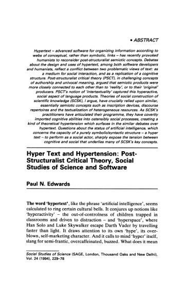 Hyper Text and Hypertension: Post- Structuralist ... - Paul N. Edwards