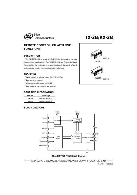 Radio Remote Control Circuit Based Of Tx2b Rx 2b Pair Schematic
