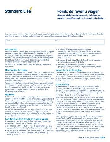 Fonds de revenu viager, Québec (PC F2805F) - Standard Life