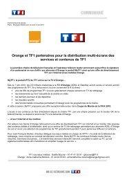 Orange et TF1 partenaires pour la distribution multi-écrans des ...