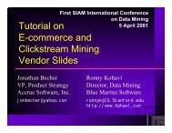 Tutorial on E-commerce and Clickstream Mining Vendor Slides
